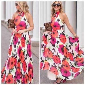 ELIZA J floral pleated maxi halter dress